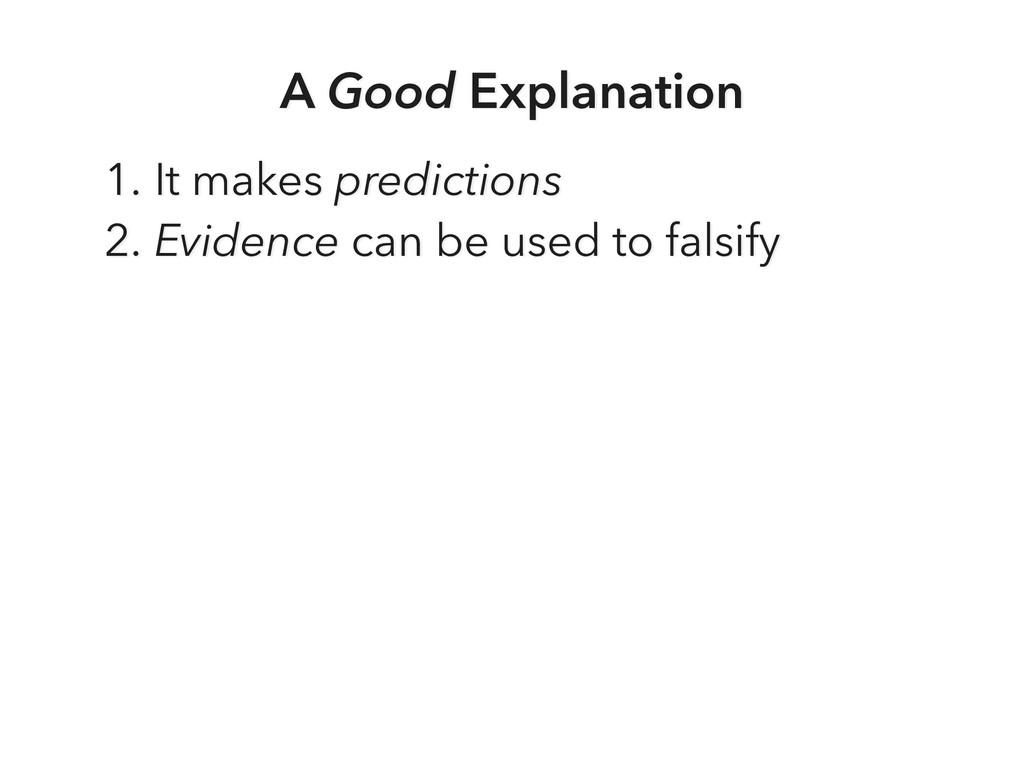 A Good Explanation 1. It makes predictions 2. E...