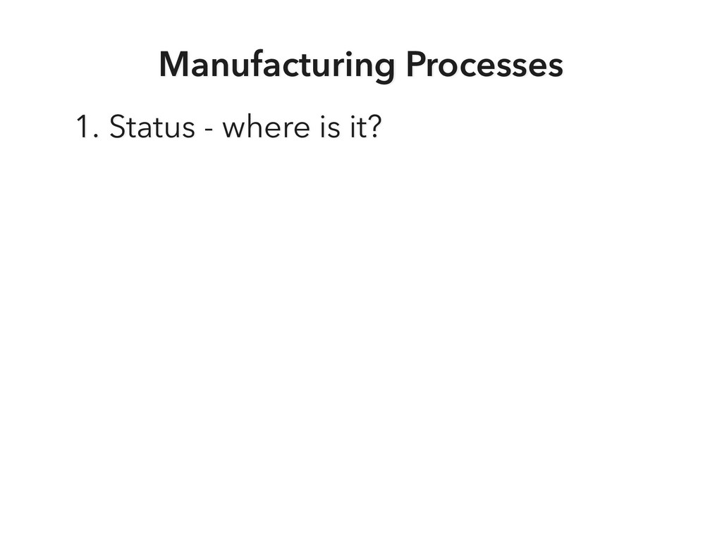 Manufacturing Processes 1. Status - where is it?