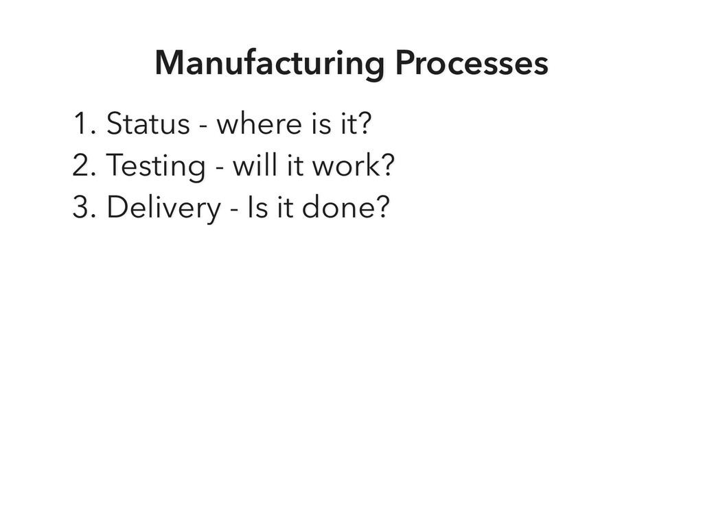Manufacturing Processes 1. Status - where is it...