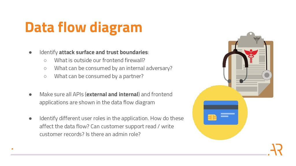 Data flow diagram ● Identify attack surface and...