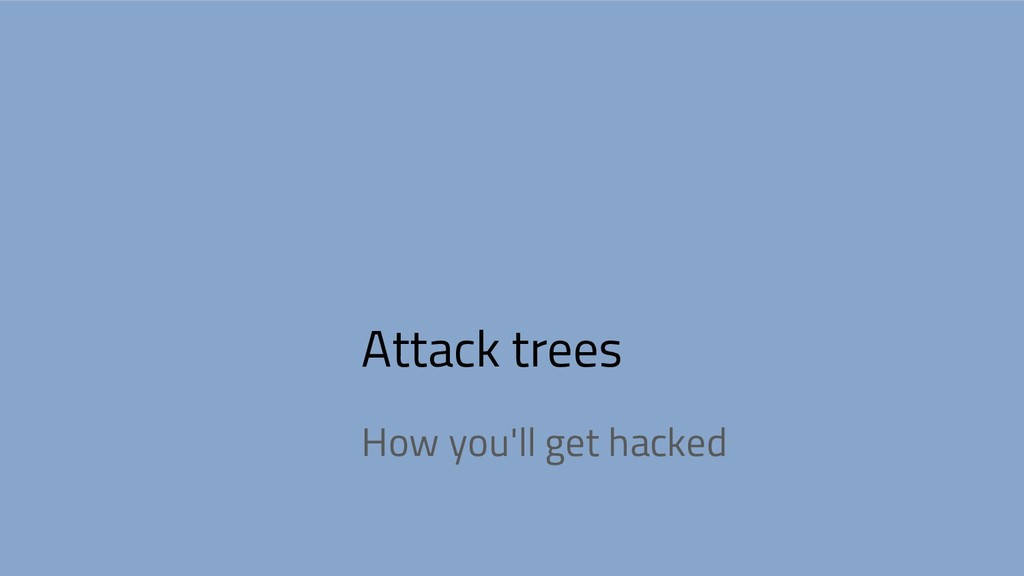 Attack trees How you'll get hacked