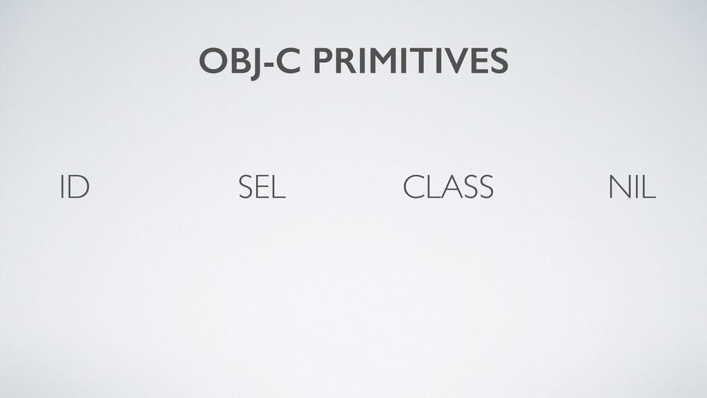 CLASS OBJ-C PRIMITIVES SEL ID NIL