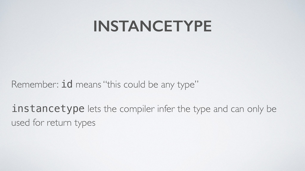 """INSTANCETYPE Remember: id means """"this could be ..."""