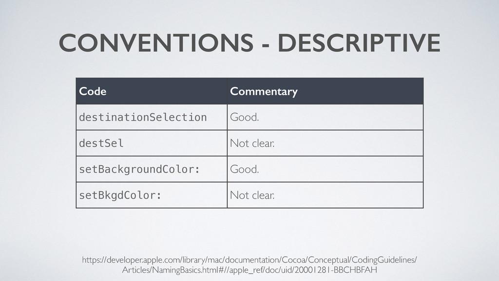 CONVENTIONS - DESCRIPTIVE Code Commentary desti...