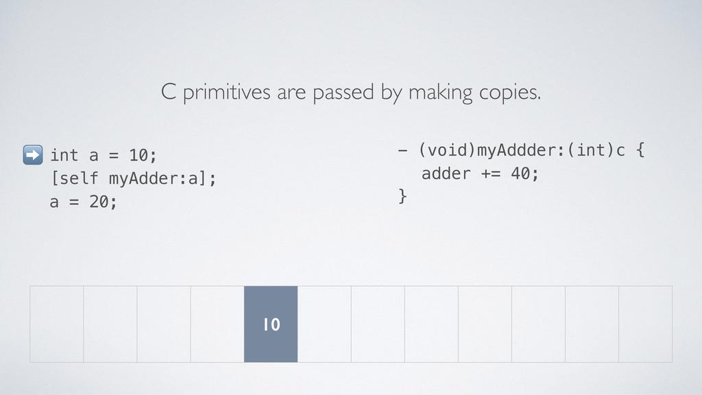 int a = 10; [self myAdder:a]; a = 20; C primiti...