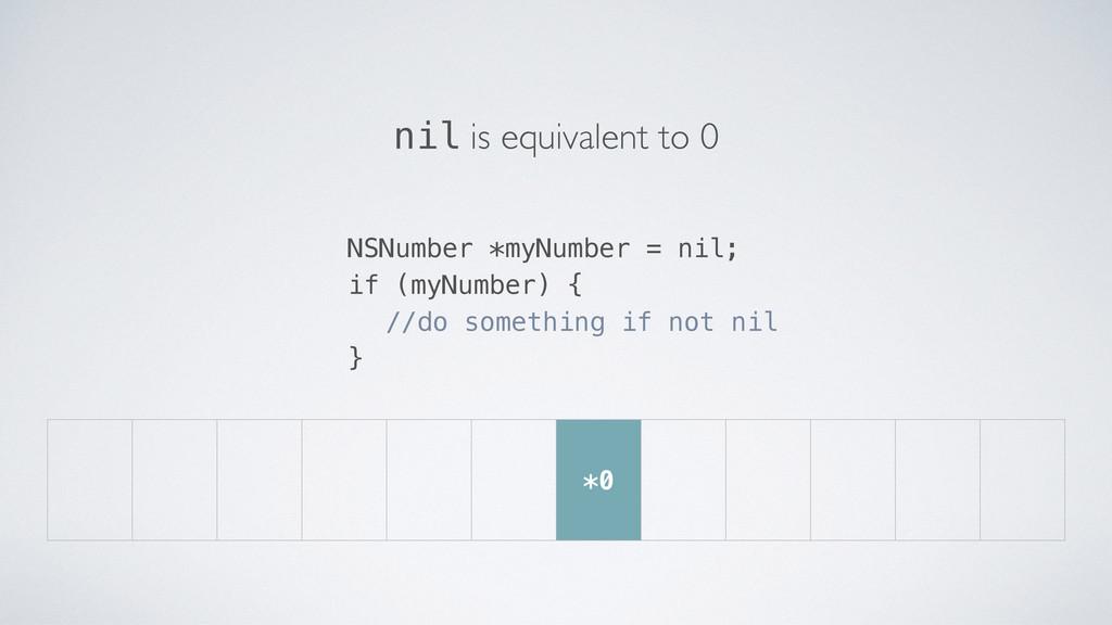 *0 NSNumber *myNumber = nil; if (myNumber) { //...