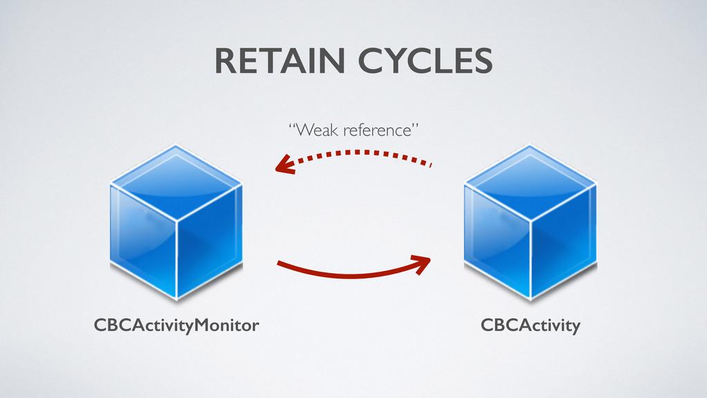 "RETAIN CYCLES CBCActivityMonitor CBCActivity ""W..."