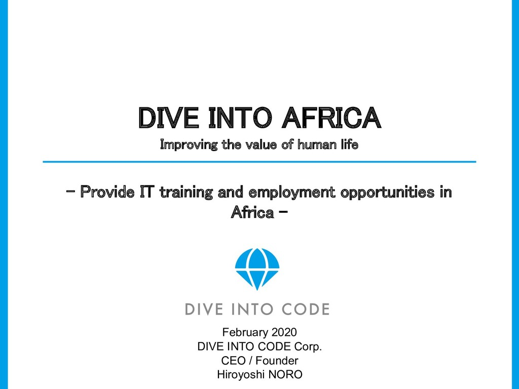 DIVE INTO AFRICA Improving the value of human ...
