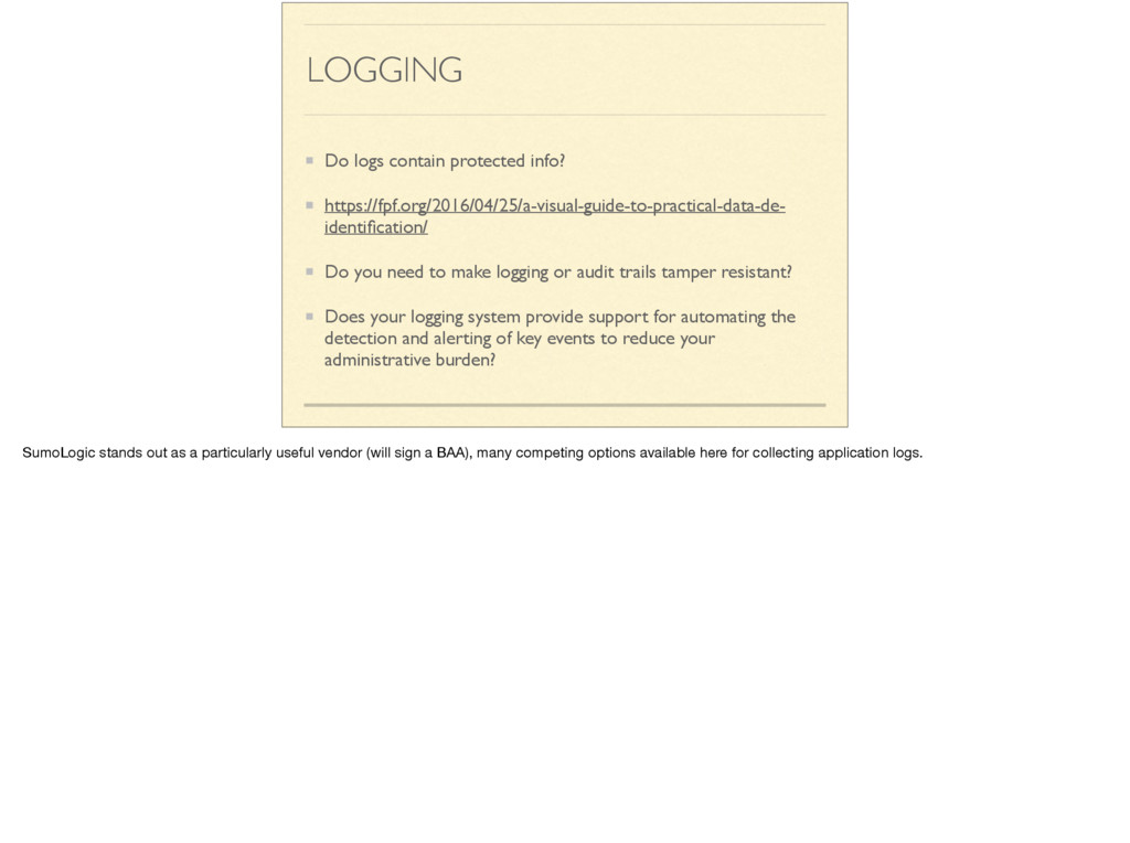 LOGGING Do logs contain protected info? https:/...