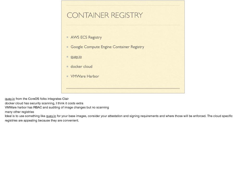 CONTAINER REGISTRY AWS ECS Registry Google Comp...
