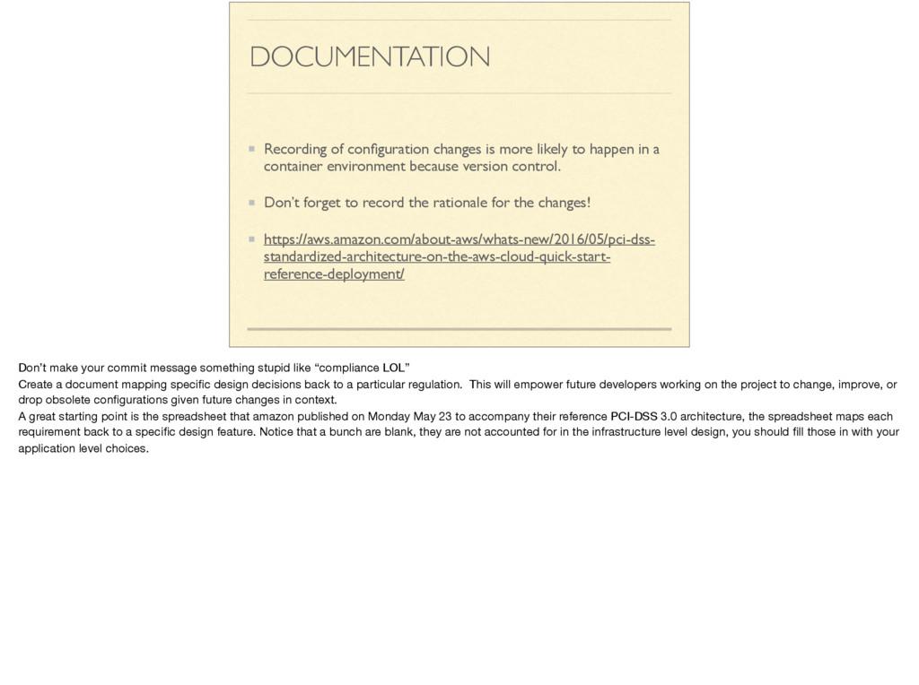 DOCUMENTATION Recording of configuration changes...