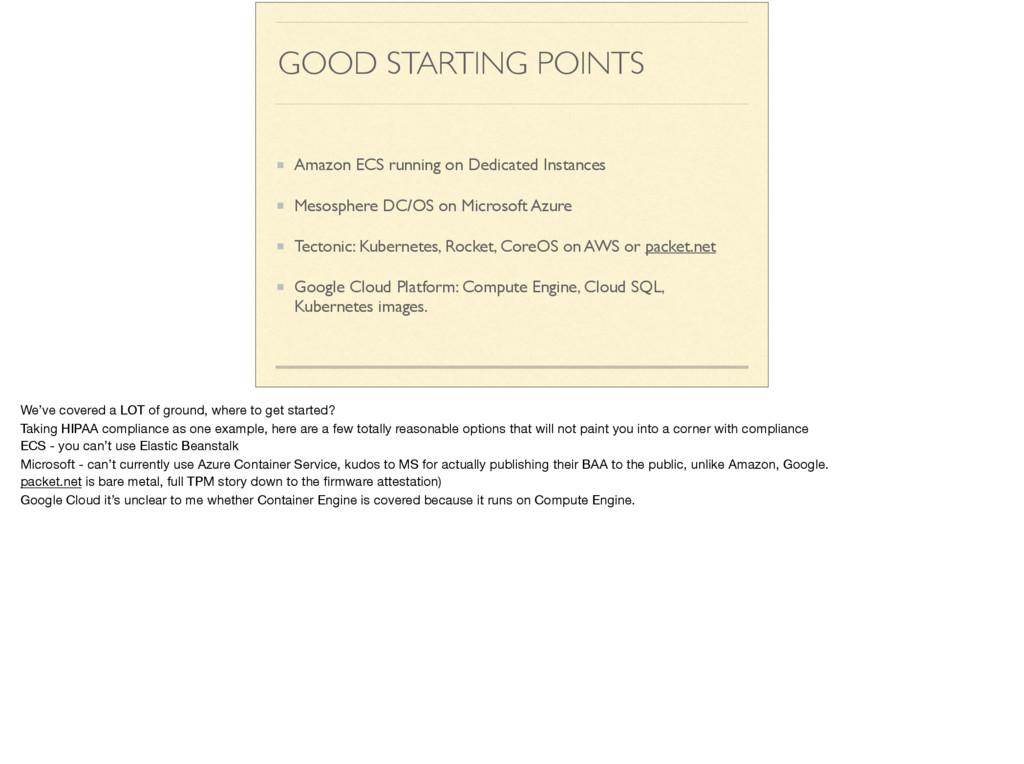 GOOD STARTING POINTS Amazon ECS running on Dedi...