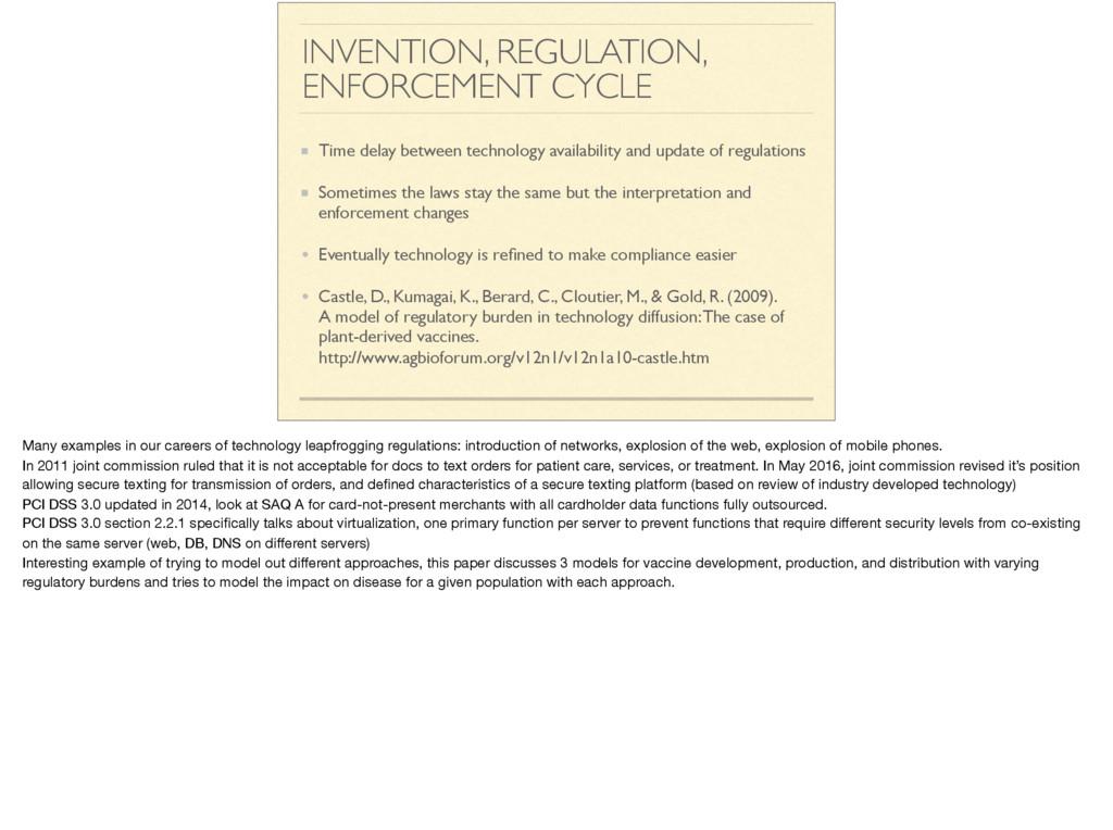INVENTION, REGULATION, ENFORCEMENT CYCLE Time d...