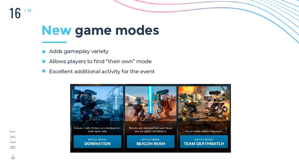 16 T X E N / 24 New game modes Adds gameplay va...