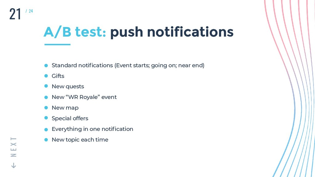 21 T X E N / 24 A/B test: push notifications St...