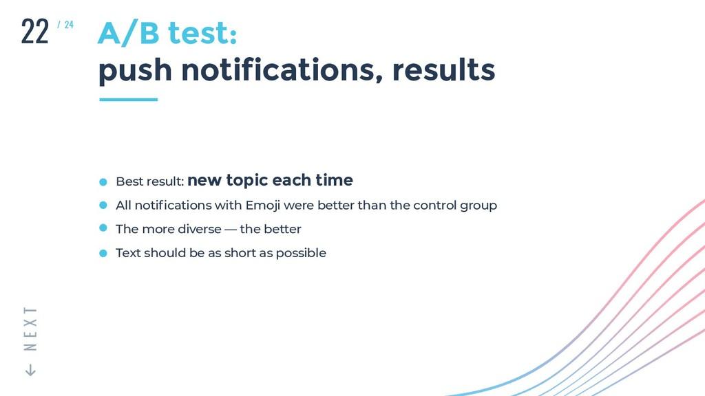 22 T X E N / 24 A/B test: push notifications, r...