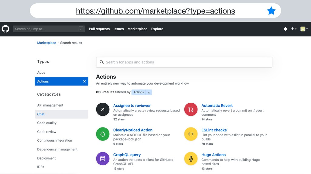 https://github.com/marketplace?type=actions