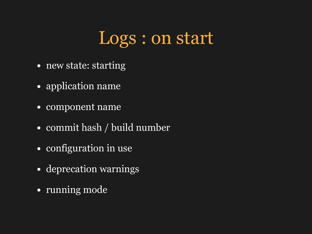 Logs : on start • new state: starting • applica...