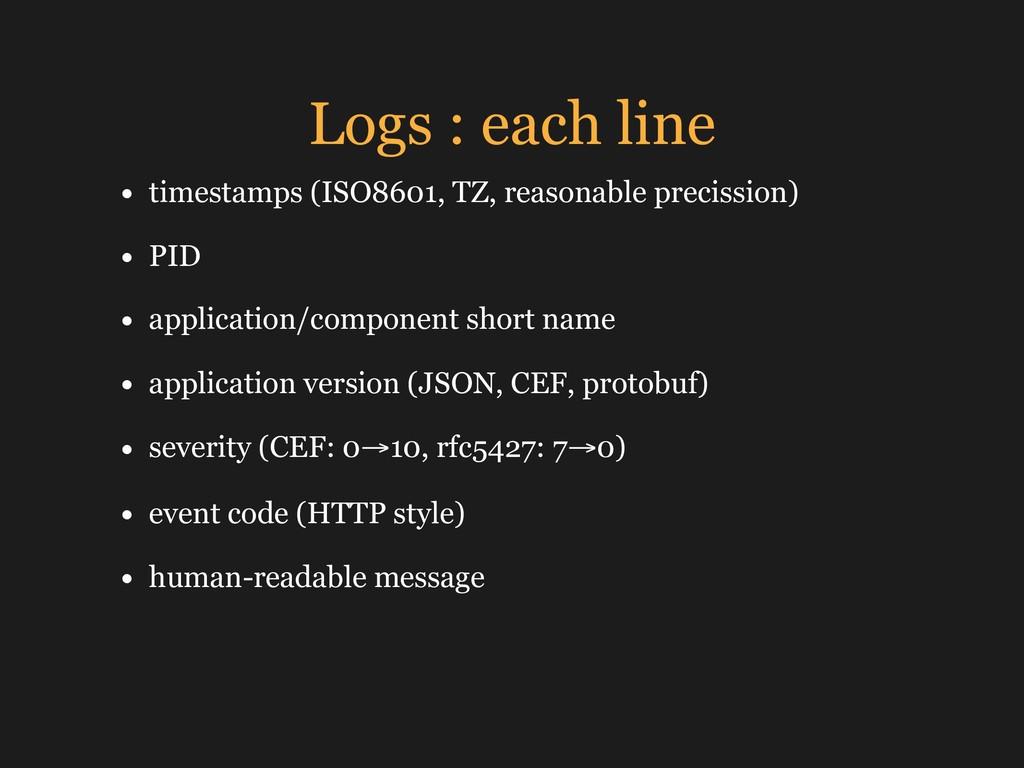 Logs : each line • timestamps (ISO8601, TZ, rea...