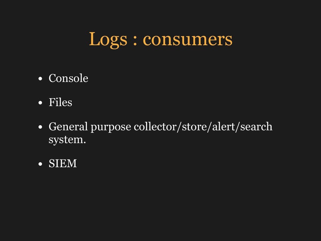 Logs : consumers • Console • Files • General pu...