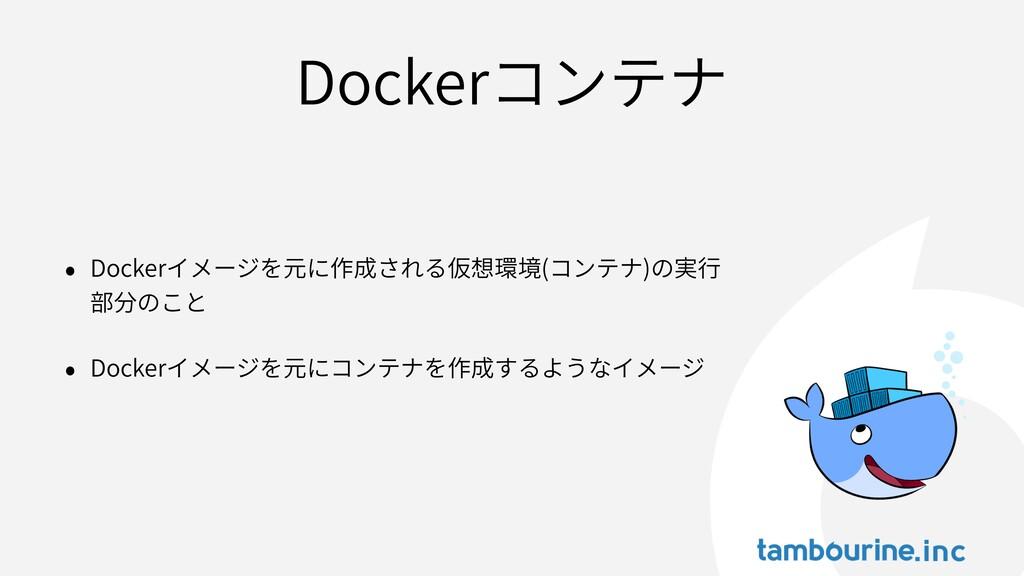 Dockerコンテナ • Dockerイメージを元に作成される仮想環境(コンテナ)の実⾏ 部分...