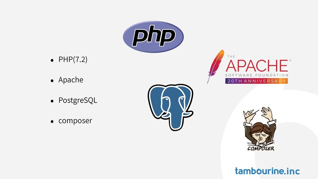 • PHP( . ) • Apache • PostgreSQL • composer