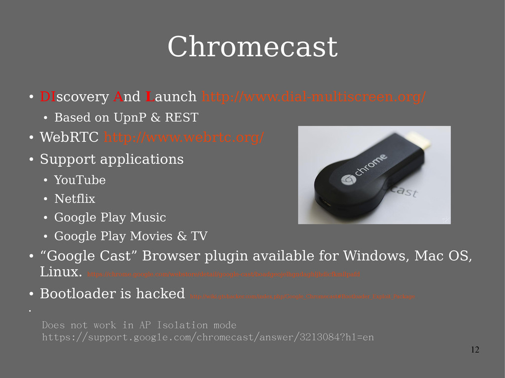 12 Chromecast ● DIscovery And Launch http://www...