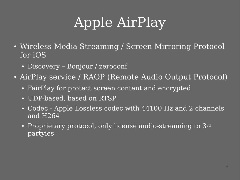 3 Apple AirPlay ● Wireless Media Streaming / Sc...