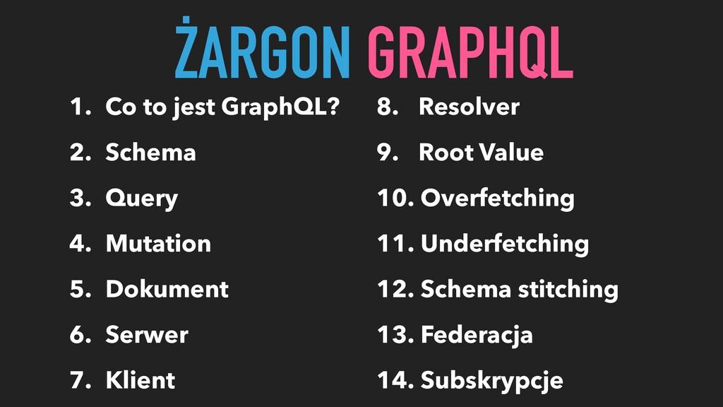 1. Co to jest GraphQL? 2. Schema 3. Query 4. Mu...