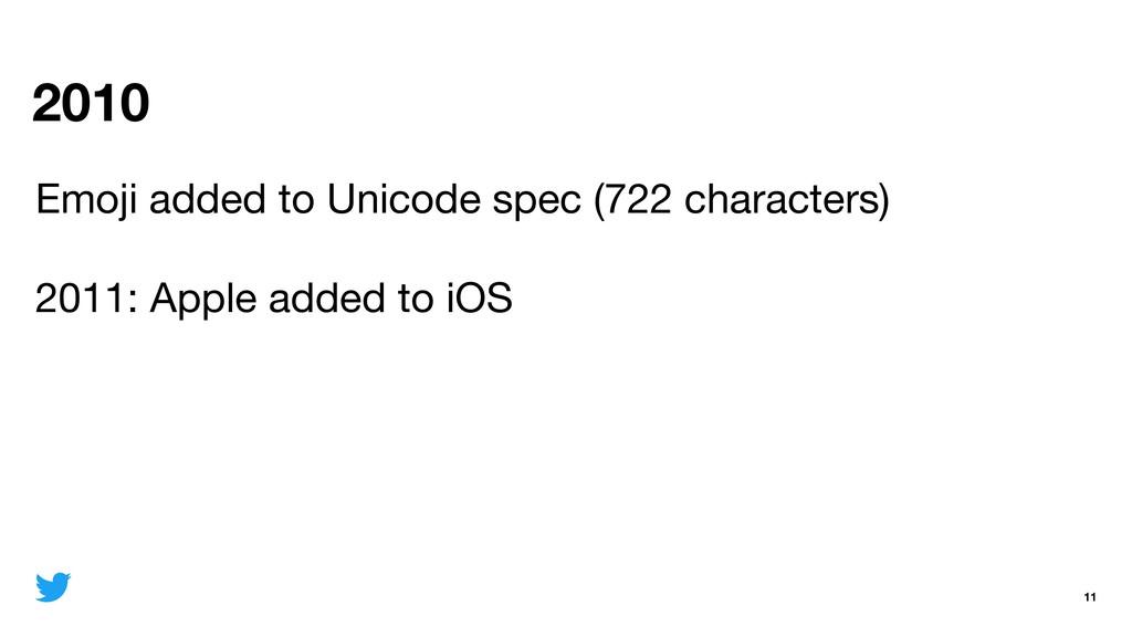 2010 11 Emoji added to Unicode spec (722 charac...