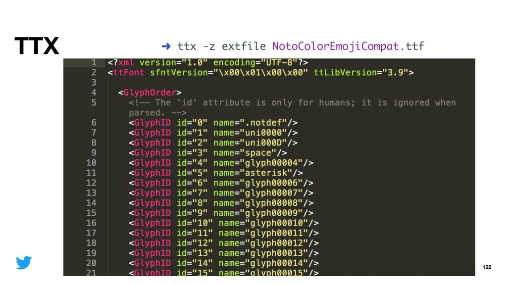 TTX 122 ➜ ttx -z extfile NotoColorEmojiCompat.t...