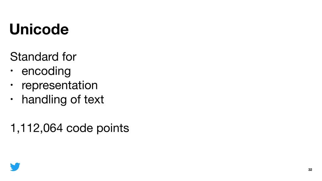 Unicode 32 Standard for   • encoding  • represe...
