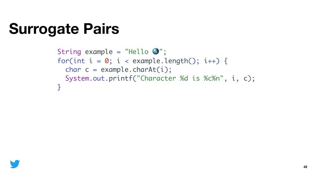 """Surrogate Pairs 42 String example = """"Hello """"; f..."""