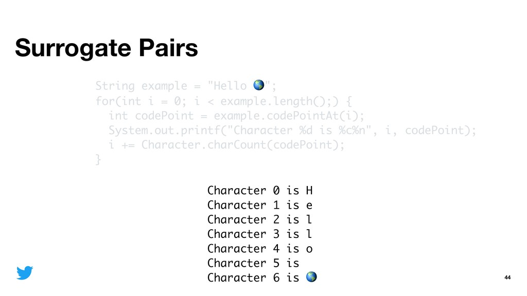 """Surrogate Pairs 44 String example = """"Hello """"; f..."""