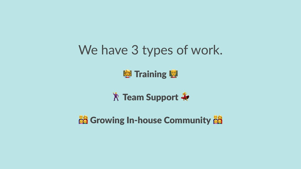 We have 3 types of work. ! Training ! Team Supp...