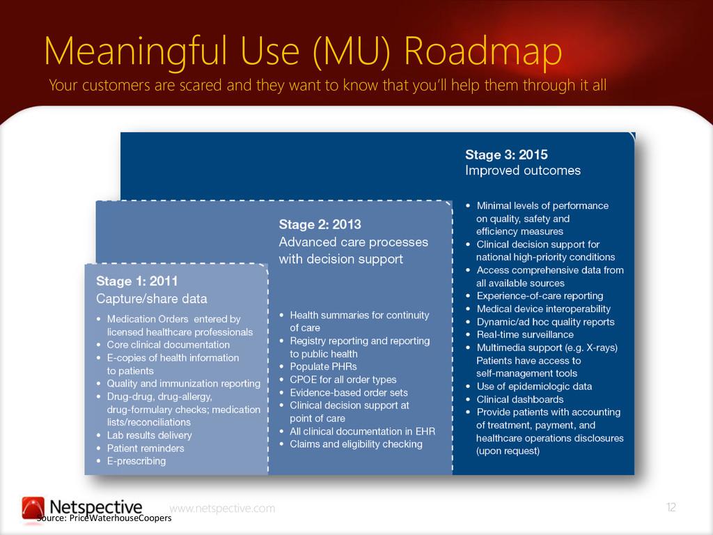12 www.netspective.com Meaningful Use (MU) Road...