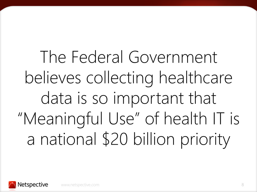www.netspective.com 8 The Federal Government be...