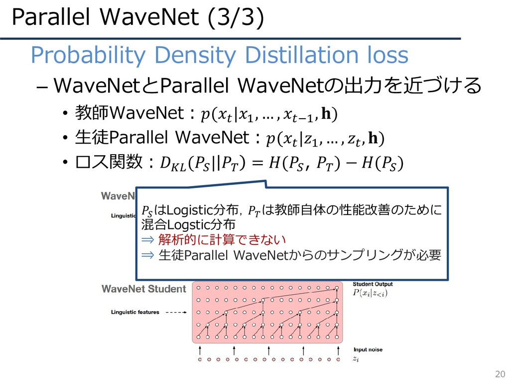 Parallel WaveNet (3/3) 20 • Probability Density...