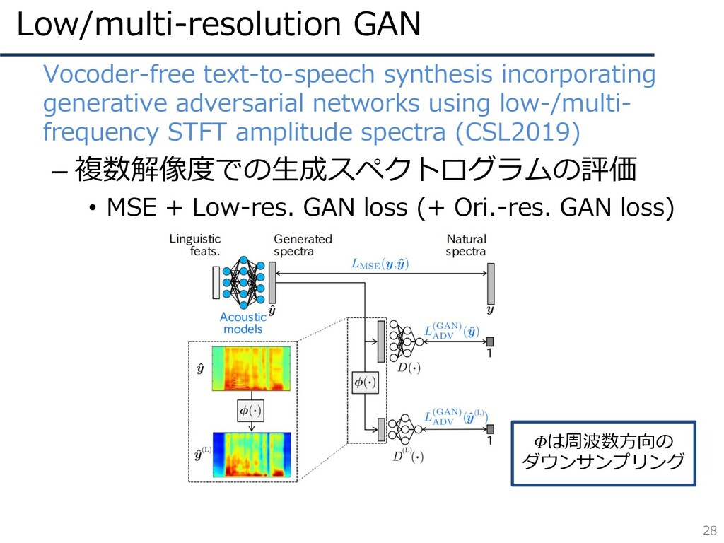 Low/multi-resolution GAN 28 • Vocoder-free text...