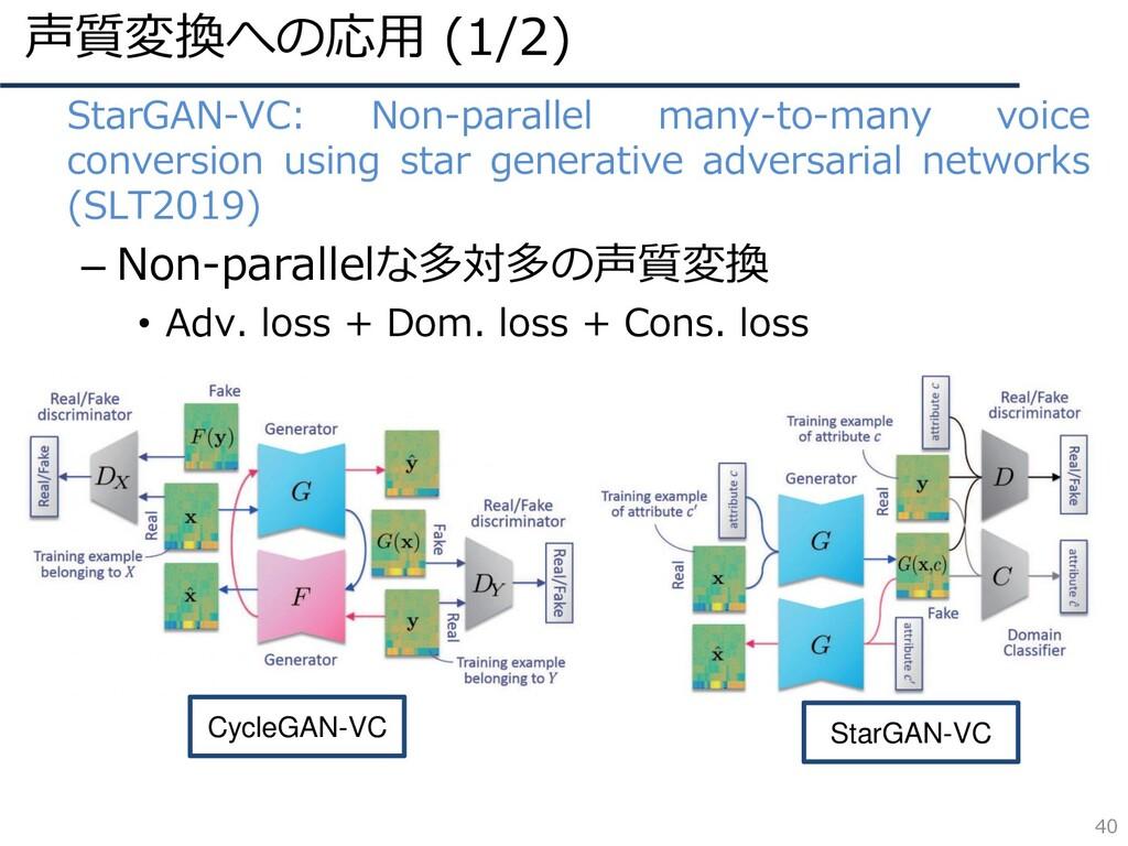 声質変換への応用 (1/2) 40 • StarGAN-VC: Non-parallel ma...