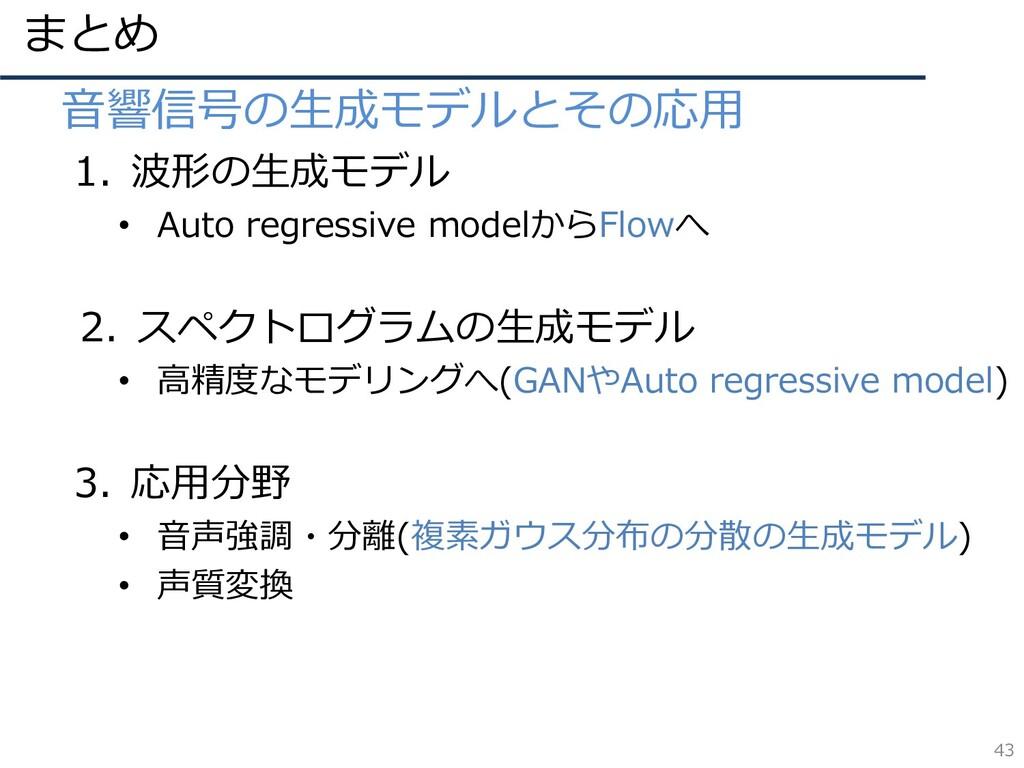 まとめ 43 • 音響信号の生成モデルとその応用 1. 波形の生成モデル • Auto reg...