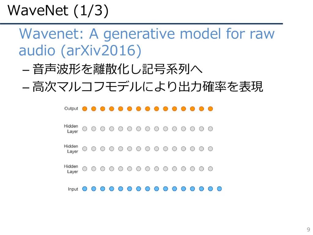 WaveNet (1/3) 9 • Wavenet: A generative model f...