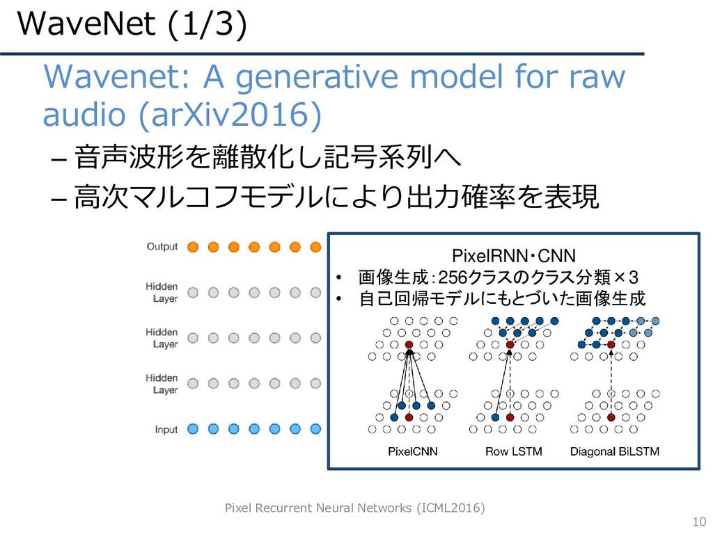 WaveNet (1/3) 10 • Wavenet: A generative model ...