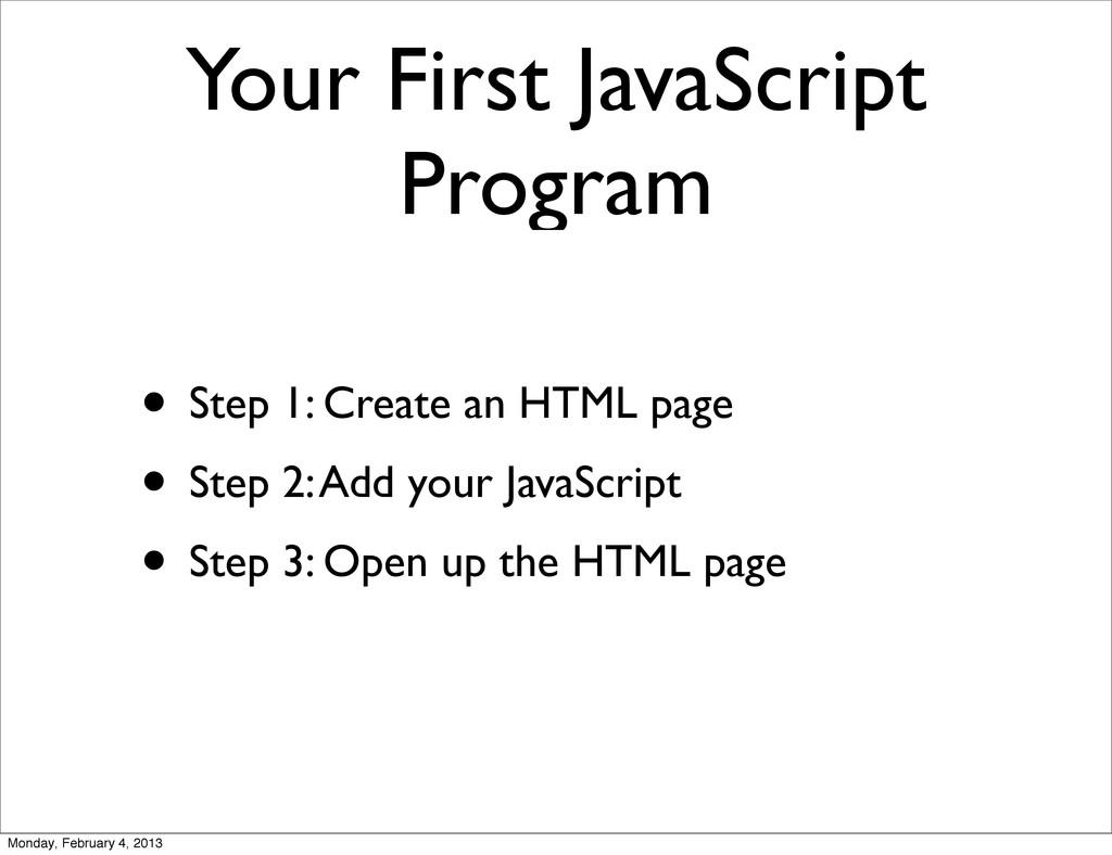 Your First JavaScript Program • Step 1: Create ...
