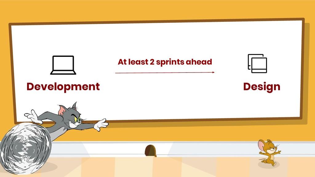 Development Design At least 2 sprints ahead