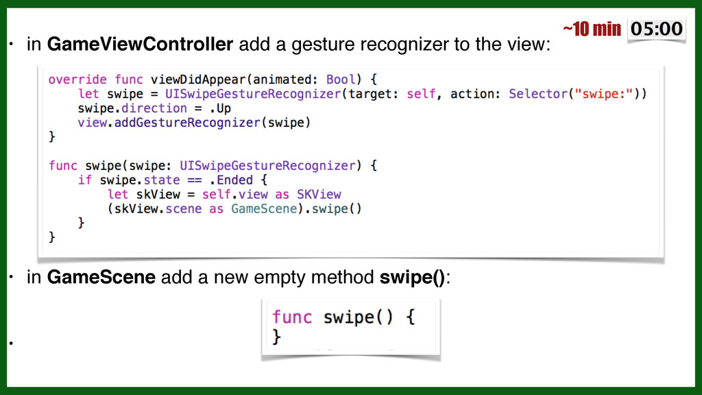 • in GameViewController add a gesture recognize...