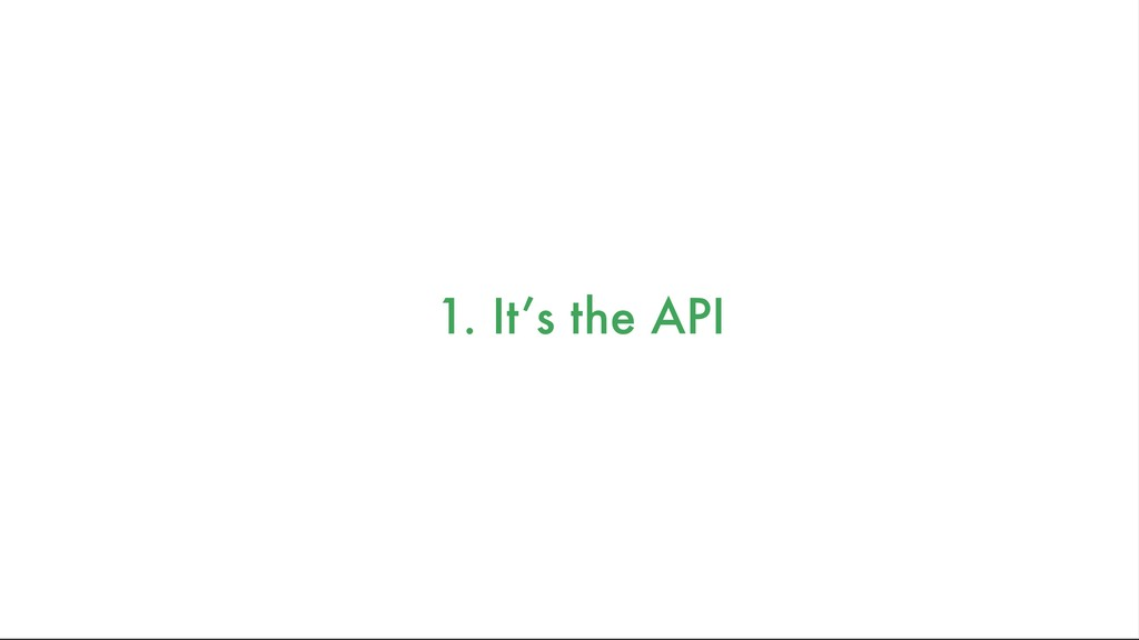 1. It's the API