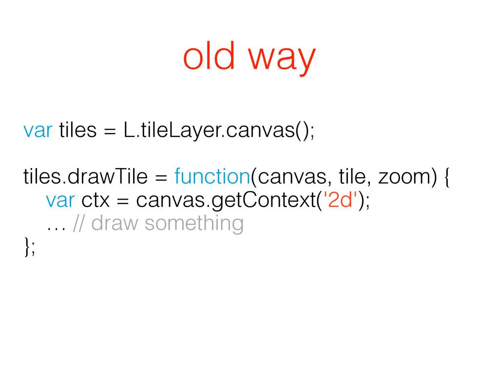 var tiles = L.tileLayer.canvas(); ! tiles.drawT...