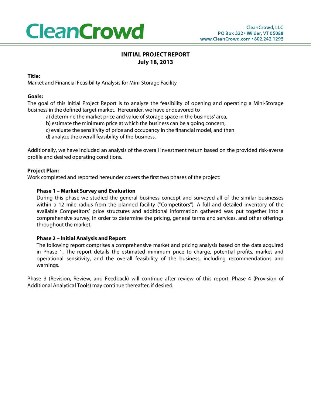 CleanCrowd, LLC PO Box 322 • Wilder, VT 05088 w...