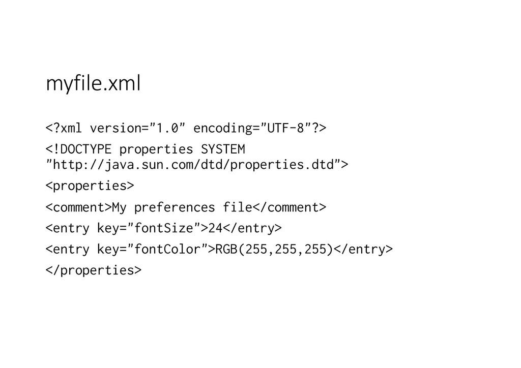 """myfile.xml <?xml version=""""1.0"""" encoding=""""UTF-8""""..."""